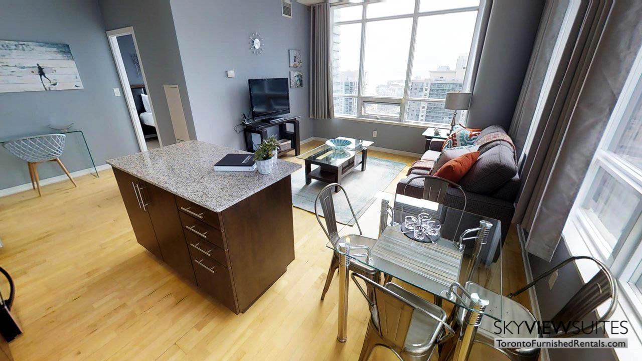 short term rentals Toronto Maple Leaf Square living room