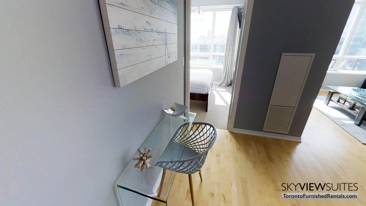 short term rentals Toronto Maple Leaf Square living room desk