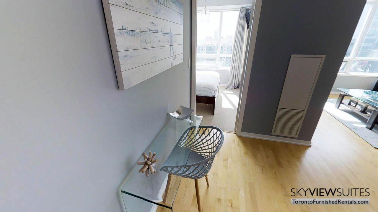 short term rentals Toronto Maple Leaf Square living room desk