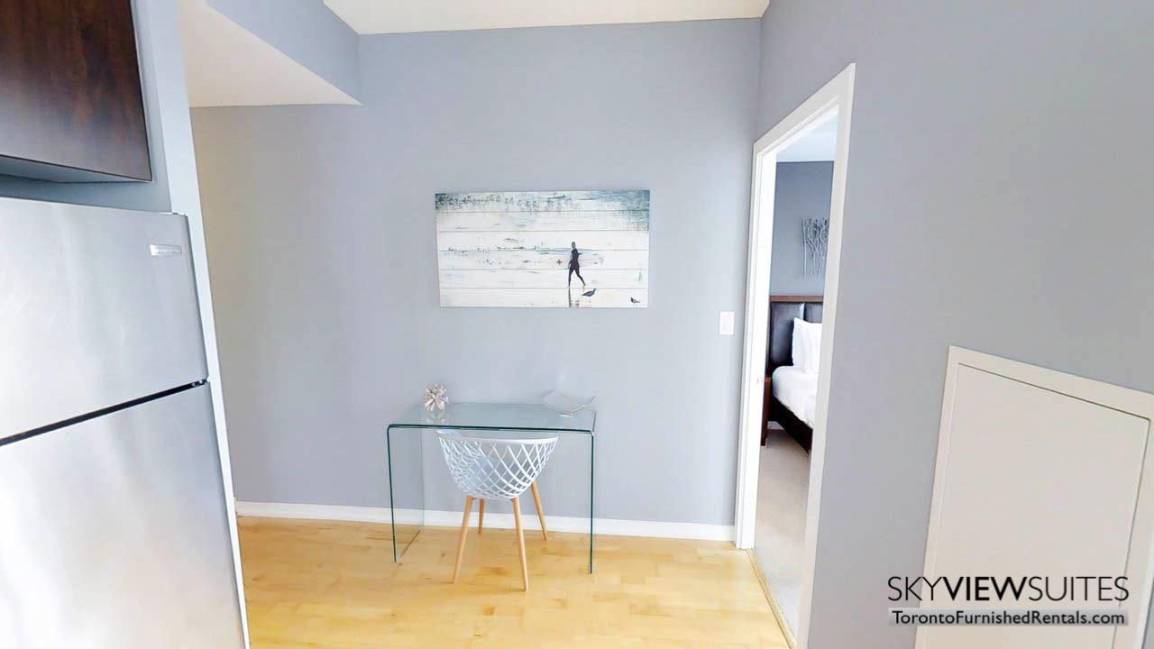 short term rentals Toronto Maple Leaf Square desk living room