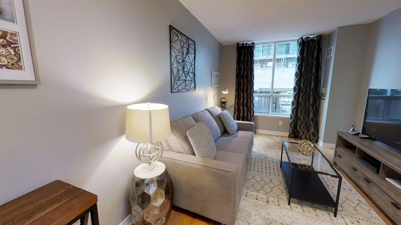 couch living room television furnished apartments toronto QWEST