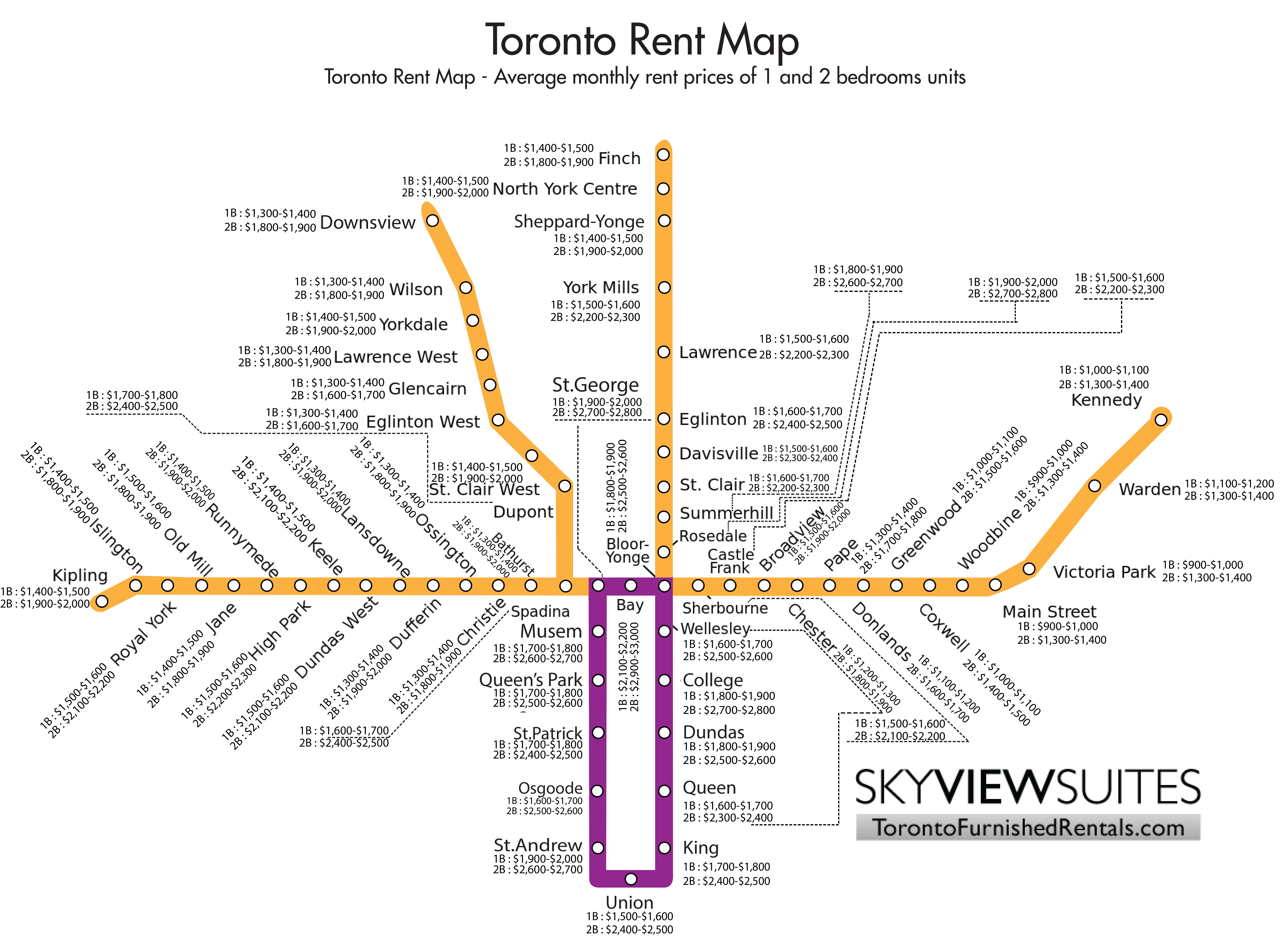 Toronto Subway Map With Streets.Toronto Rent Map