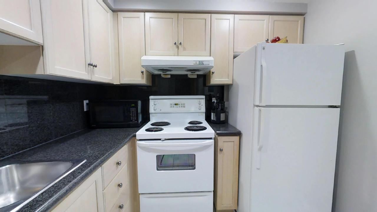 toronto furnished apartment kitchen near queen and university