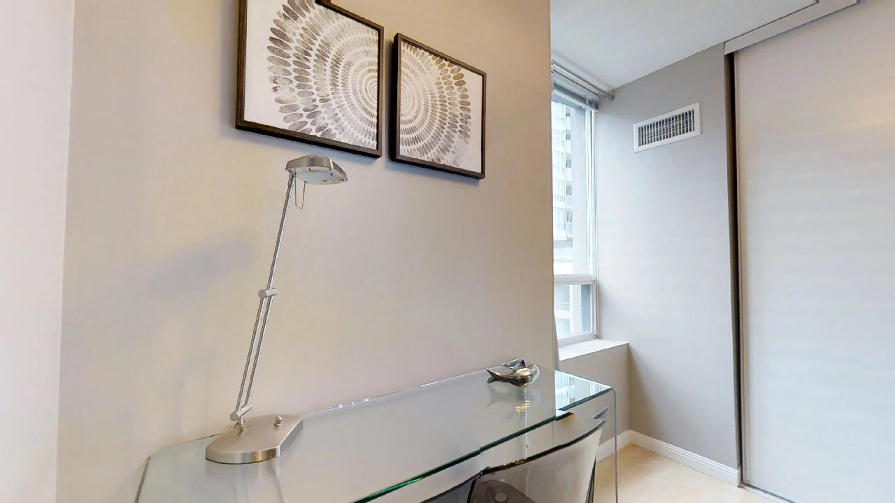 workspace in a toronto furnished apartment