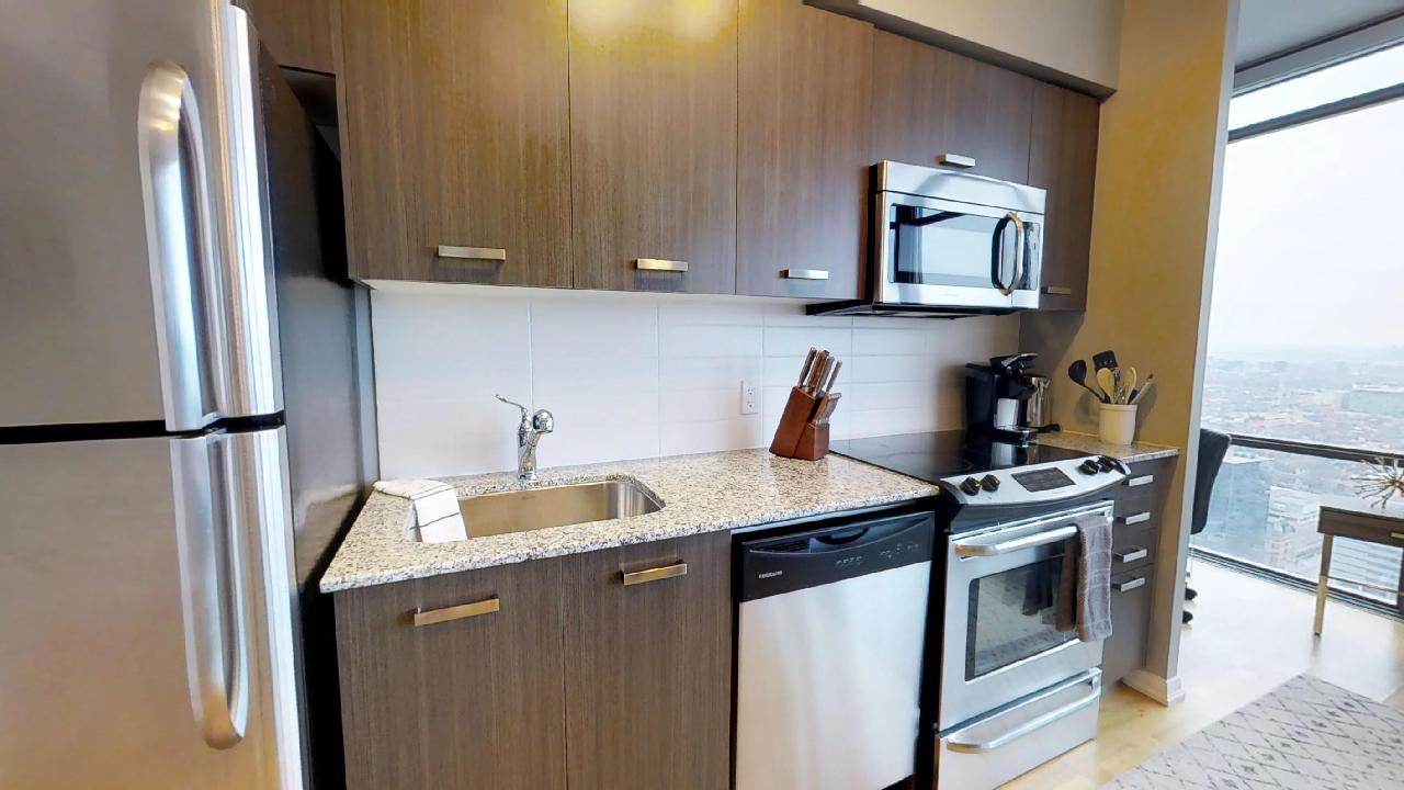 toronto furnished apartment kitchen counter near bay and college