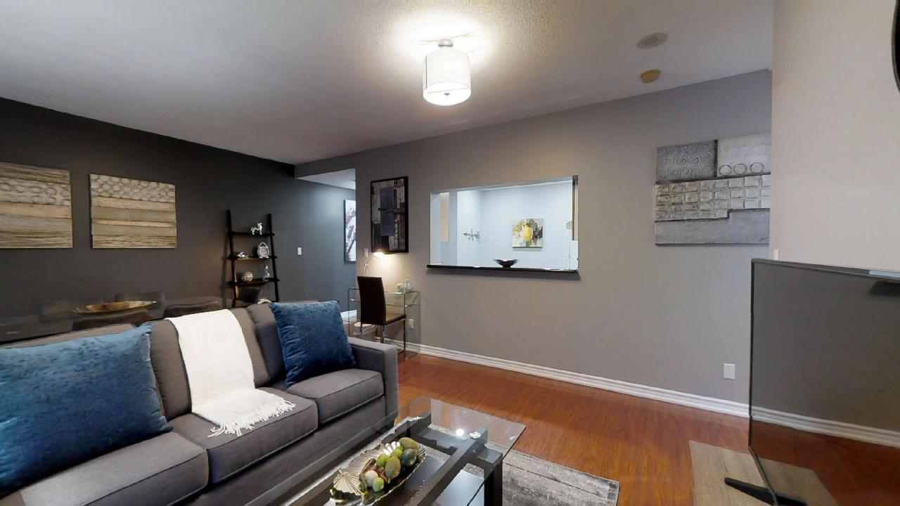 living room in a Toronto furnished apartment, near osgoode subway station