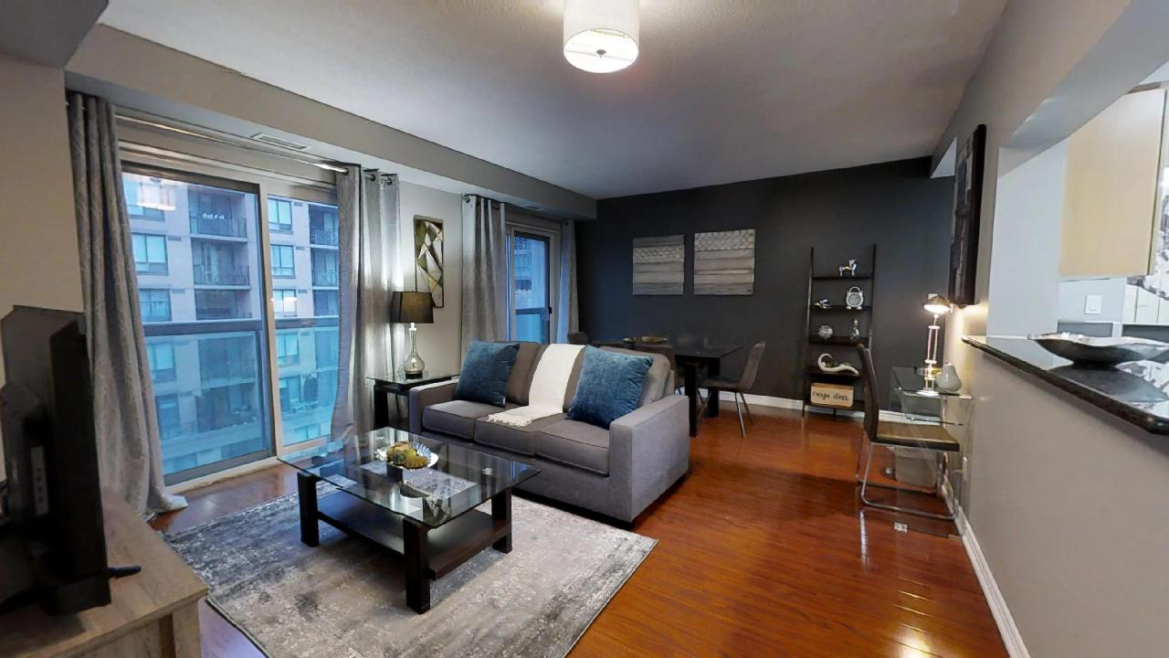 the full living area of a furnished apartment in toronto at 168 Simcoe St