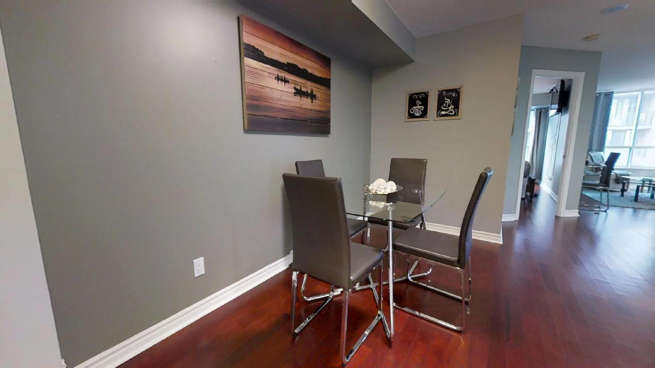 dining room in toronto furnished apartment near queen and simcoe