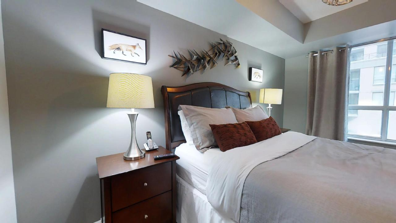 toronto corporate stay bedroom in QWest condo