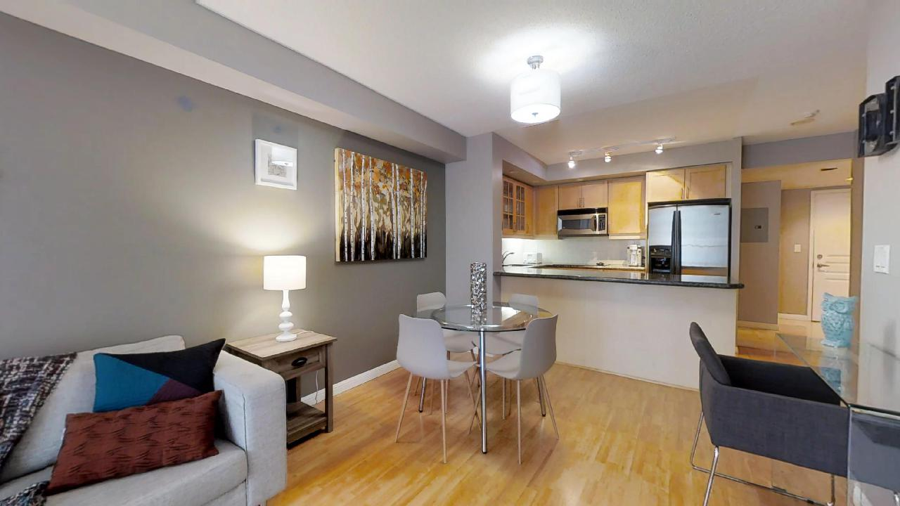 dining table in a toronto extended stay suite at Osgoode station