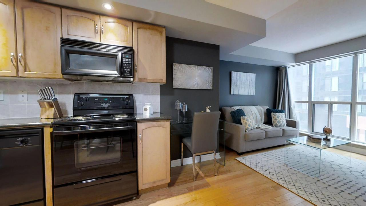 living room and kitchen in toronto furnished apartment near wellington toronto