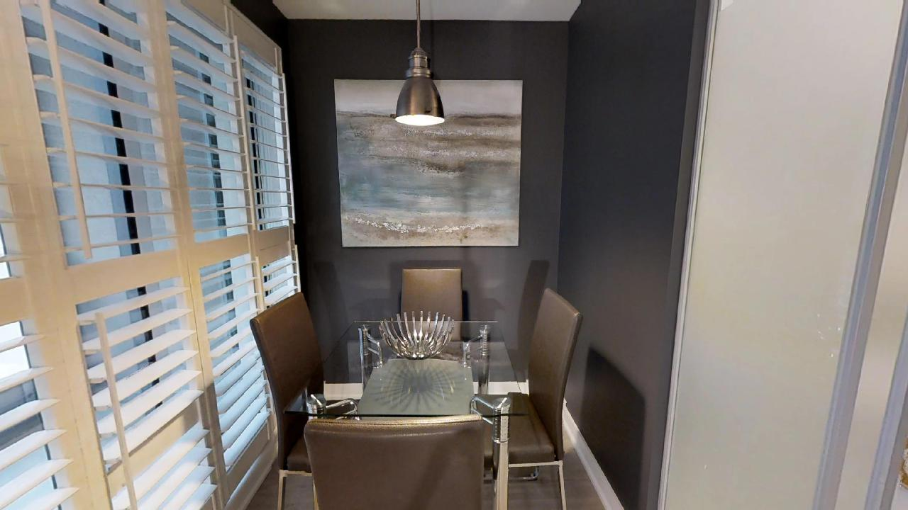 dining area in a modern furnished apartment near the financial district of toronto