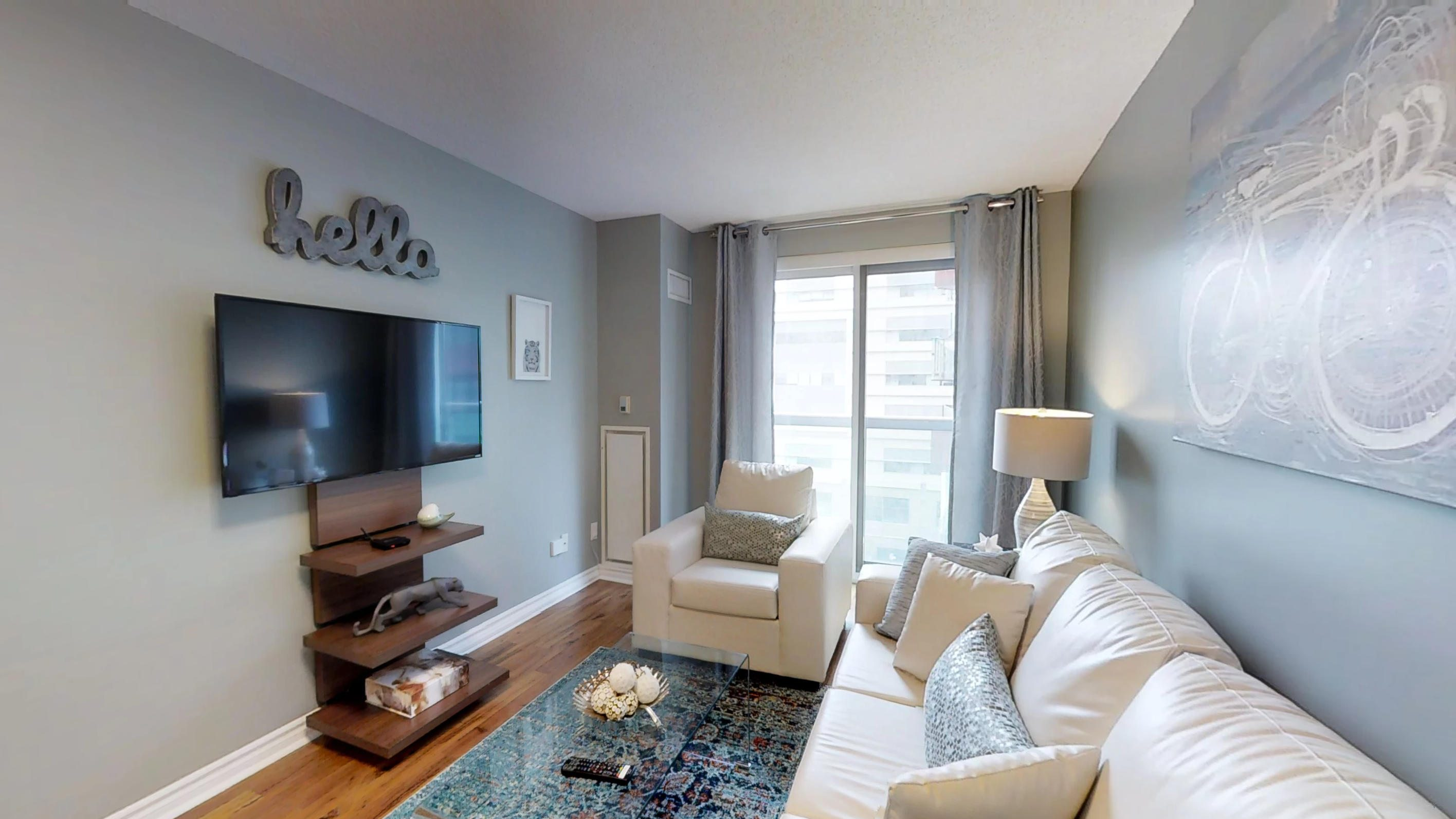 living room in a downtown Toronto furnished suite near the Four Seasons Centre