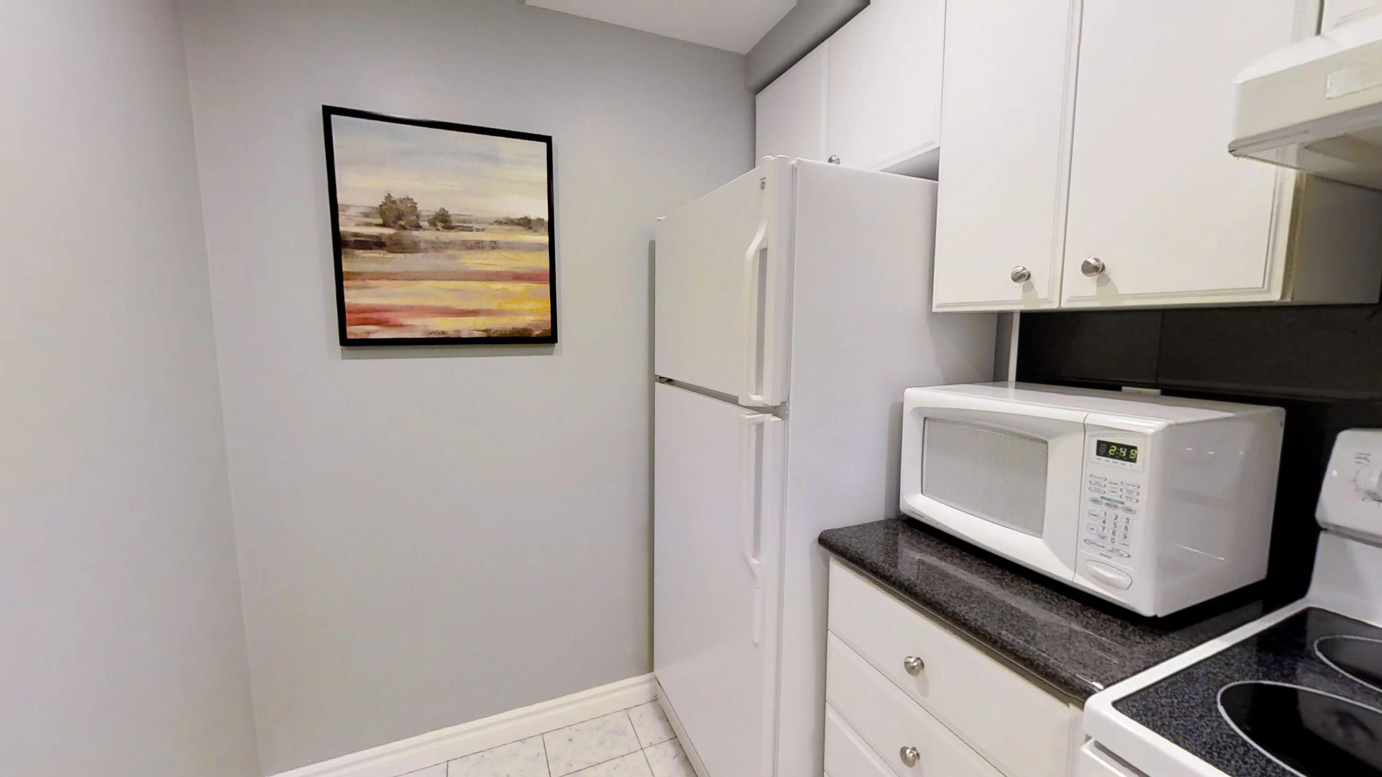 the wall art and a microwave in the kitchen of a fully furnished apartment in downtown Toronto, close 168 Simcoe Street