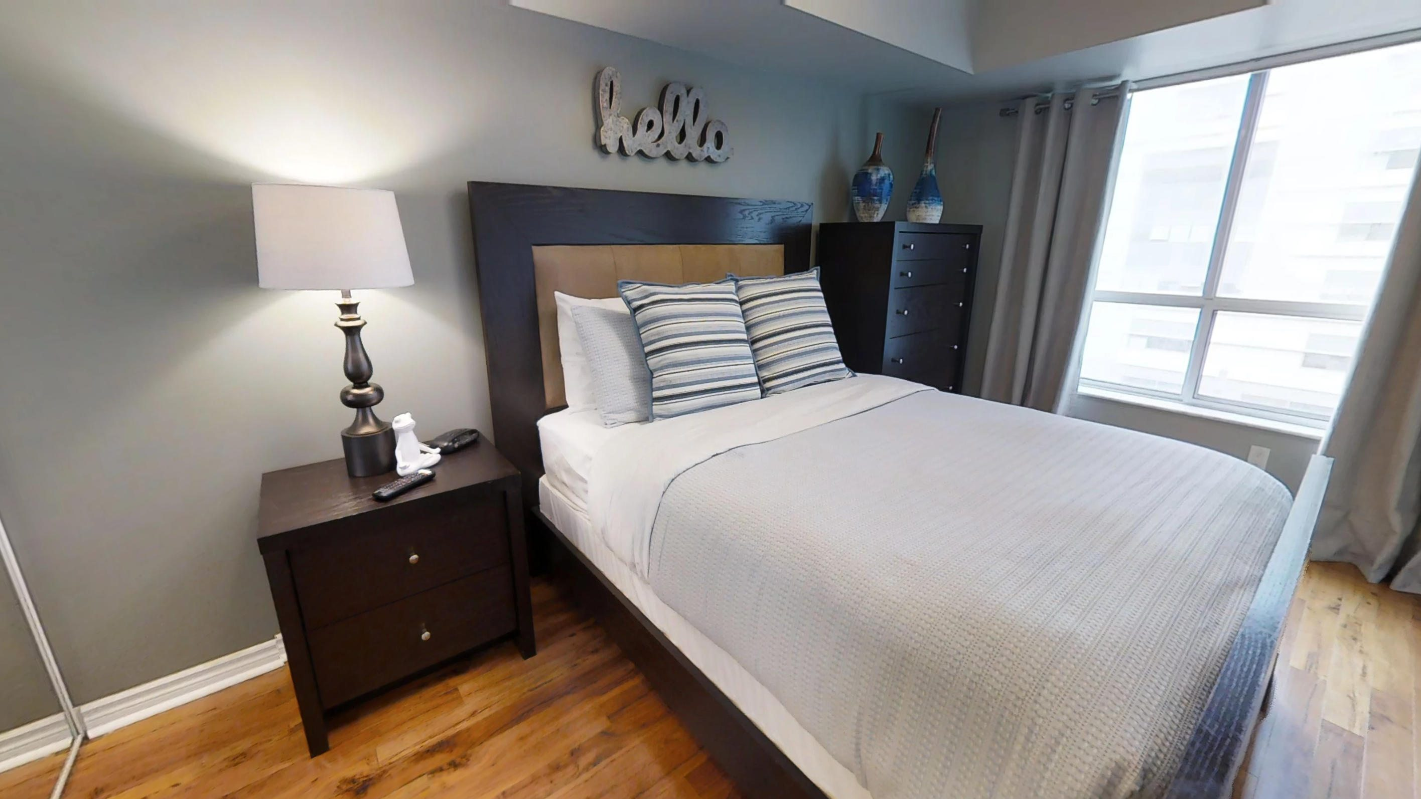 The bedroom in the toronto furnished apartment in Qwest condominiums near Toronto's Financial district, perfect for corporate housing clients